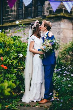 An Edwardian inspired wedding dress by designer Kate Beaumont,for a colourful and relaxed Leeds city-centre wedding