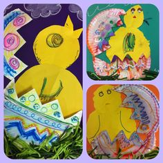 Easter Art: Happy Chick in an Egg Day!!! These are the art projects I taught during this past week, the kiddies loved it!!! Some made theirs into ducks and bunnies too!!! FYI for all you diy's: Paper plates are amazing for creative projects. The color on eggs was made by crayola markers with water painted over them for the bleed appearance, Elmer's glue, and beads.