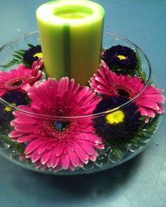 gerber daisy arrangement   Picobello Gerber Daisy Centerpiece