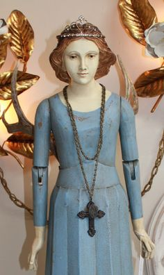 santo beauty- Santos Figure with Tiara and Antler Wings- White Horse Relics