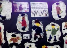 Felted and embellished Lowry style figures by Y5 children. Art Rooms in KS1 & KS2 Schools: The Elms Junior School at www.accessart.org.uk