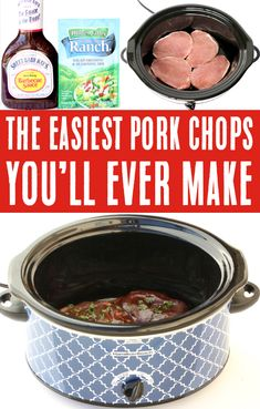 Crockpot Pork Chops Easy Recipes - Ranch Barbecue!  With just 4 ingredients, this delicious dinner will be the EASIEST thing you'll make all week!  Go grab the recipe and give it a try! Best Bbq Recipes, Delicious Crockpot Recipes, Easy Pork Chop Recipes, Barbecue Recipes, Easy Dinner Recipes, Easy Recipes, Easy Meals, Favorite Recipes, Crockpot Meals