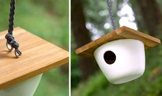 ceramic and wood bird house