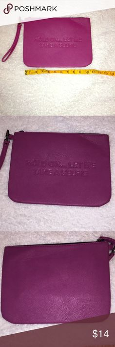 Hold on let me take a selfie clutch Cute statement clutch. Can't used as a clutch or make up bag. Has crease in front upper right corner (2nd pic) and back left lower corner (3rd picture.) Used once. Bags Clutches & Wristlets