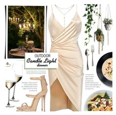 """Outdoor Candle Light Dinner for Two"" by noviii ❤ liked on Polyvore featuring BoConcept, Giuseppe Zanotti, Riedel, GUESS by Marciano, Juliska, Topshop and summeroutdoordining"