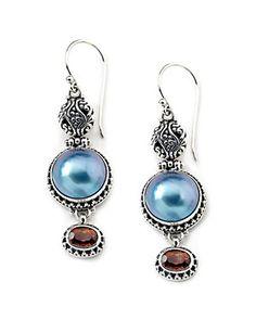 Samuel B. Silver Tourmaline & 12mm Pearl Drop Earrings