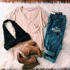 | Oatmeal Color V Neck Tee | Distressed Denim Jeans | Black Lace Bralette | Brown Ankle Booties |