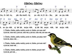 Čížečku, čížečku – Dětské stránky Teaching Music, Kids Songs, Ukulele, Piano, Sheet Music, Preschool, Musica, Music Lessons, Nursery Songs