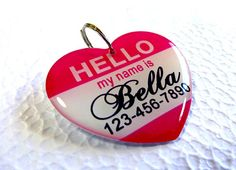 Dog Collar Tag Hello My Name is Heart Shape Tag by by ID4Pet, $14.99