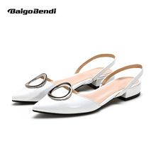 US $35.99 US4-9 New Real Leather Pointy Toe Shallow Mouth Ankle Strap Sandal Womens Low Heel OL Summer Heels. Aliexpress product