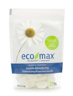 Eco-Max Hypoallergenic Dishwasher Pacs - Scent-Free. Plant-based, biodegradable, phosphate-free. Available @ Well.ca #unscented #scentfree #fragrancefree