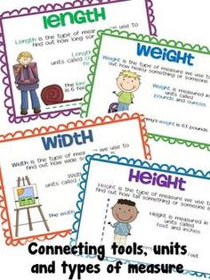 Charts and math station task cards to help students connect measurement vocabulary to units, tools, and types of measure. $