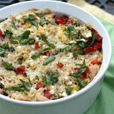 Roasted summer vegetable and rice casserole.