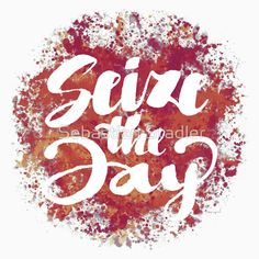 'Seize the Day ( Carpe Diem ) - Positive Calligraphy Lettering Design' T-Shirt by Sebastian Stadler Seize The Days, Best Tank Tops, T Shirts With Sayings, Graphic Shirts, Carpe Diem, Lettering Design, Shirt Ideas, Tshirt Colors, Classic T Shirts