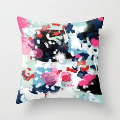 Aubrey - Abstract painting in bright colors pink navy white gold Throw Pillow by CharlotteWinter - $20.00