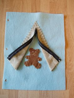 Zipper Teepee Felt Quiet Book Page Age 3 and up. via Etsy.