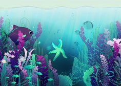 Displate Poster Deep down in the water underwater #ocean #sea #water #animal #wildlife #fish #algae #seaweed #life #home #decor #kids #fantasy #magic #lights #colors #bubbles