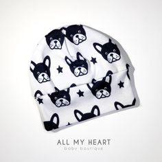 Baby Hat Beanie Hospital Cap Infant Hat Dog Doggy Puppy Boston Terrier. All My Heart Boutique