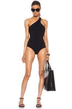 Josh Goot Asymmetric Scoop Back Polyamide-Blend Swimsuit in Black $370