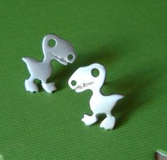 Dinosaur Stud Earrings Sterling Silver Teen Kids Gift Jewelry Girl Woman Post Earrings mom Valentine for her. $30.00, via Etsy.