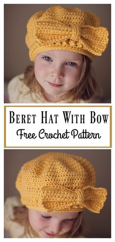 Crochet Beanie Patterns Beret Hat Free Crochet Pattern With Bow Crochet Toddler, Crochet Kids Hats, Easy Crochet, Double Crochet, Crocheted Hats, Crochet Gratis, Free Crochet, Crochet Beret Pattern, Bow Pattern
