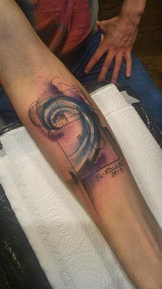 Fibonacci spiral by Patrick at TattooYou, Sao Paulo, Brazil                                                                                                                                                                                 More