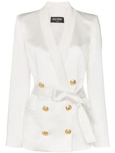Shop online white Balmain gold-tone button belted blazer as well as new season, new arrivals daily. Phenomenal luxury selection, get it now with quick Global Shipping or Click & Collect orders. Balmain Jacket, Balmain Blazer, Blazer Fashion, Fashion Outfits, Womens Fashion, Fashion Trends, Look Fashion, Fashion Design, Kpop Outfits