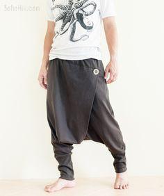 Minimalist Unisex Harem Pants Heavy Jersey Knit Cotton Low Crotch Trousers (Charcoal)