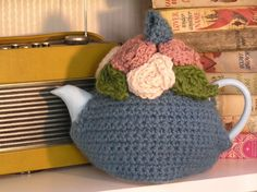 ❥Crochet Tea Cosies, Mug Hug Snugs and Cuppa Cosies. Vintage Rose - Crochet Tea Cosy Boutique