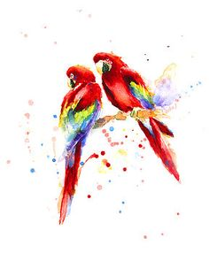 """""""Red Parrots"""" - Original Watercolor Painting on Grain fin cold pressed Paper, Signed on front, unframed D's: / cm by BobaPainting on Etsy💗 Watercolor Bird, Watercolor Animals, Watercolor Paintings, Parrot Painting, Painting & Drawing, Art Alevel, Art Aquarelle, Art Prompts, Rainbow Art"""