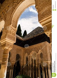 Architectural details of arches and columns decorated at the historic site of the Alhambra in spain