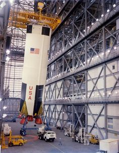 February 1, 1968: The 1st stage of AS-503 (Apollo 8) is erected in the VAB. @NASA images.