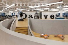 UKTV | Penson Tags: office, workspace, statement staircase, night, shining armour, parrot head, details, quirky, lighting, signage, type, creative interior design