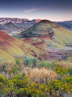 Painted Hills, John Day Fossil Beds National Monument, Oregon, USA                	 photo