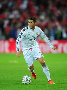 Real Madrid player Ronaldo in action during the UEFA Super Cup match between Real Madrid and Sevilla FC at Cardiff City Stadium on August 12, 2014 in Cardiff, Wales.