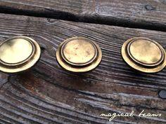 Vintage Brass Weathered Multi Ring Knobs / Decorative Drawer Pulls / Restoration Hardware by Keeler Brass Co / drawer pulls