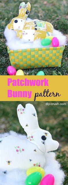 Patchwork bunny rabbit pattern | DIY Crush