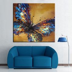 Hand-painted Abstract Beautiful Blue Butterfly Art Oil Painting On Canvas Decor #Abstract #OilPaintingButterfly