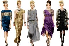 Chanel. the gold & purple dresses. *swoon*