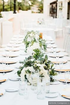 Wedding table setting ideas - white, beach, flowers, greenery, romantic {Artistic Compose} Love Spell Caster, Beach Flowers, Wedding Place Settings, Centerpieces, Table Decorations, Greenery, Real Weddings, Wedding Photos, Lost
