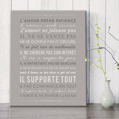 """""""Lettre de Saint Paul aux Corinthiens""""selon Mes Mots Déco, bientôt en ligne! mesmotsdeco.com tableau Canvas 33*41 cm"""