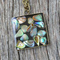 Paua Shell Abalone Resin Pendant