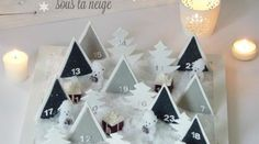 Diy : Calendrier de l'avent sous la neige - Black Confetti Discover a DIY advent calendar. It does not hang on the wall but poses as a Christmas decoration. The chocolates are buried under the snow . day gifts for him diy Christmas And New Year, Kids Christmas, Christmas Crafts, Christmas Decorations, Xmas, Advent Calenders, Diy Advent Calendar, 2015 Calendar, Noel Gifts