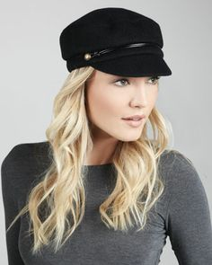 Elyse Angora Marine Cap, Black by Eugenia Kim at Neiman Marcus.