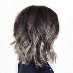 60 Shades of Grey: Silver and White Highlights for Eternal Youth - Ash Brown Highlights For Dark Brown Bob - Grey Brown Hair, Brown Hair Colors, Brown Blonde, Dark Brown Short Hair, Dark Red, Grey Hair Lob, Hair Colors For Fall, Brown And Silver Hair, White Blonde