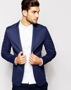 United Colors of Benetton Washed Cotton Blazer in Slim Fit