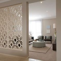 love the latticed divider- makes separate rooms, but leaves open feeling