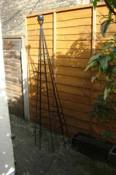 2 Black Metal Heavy Duty Garden Obelisks - Climbing Plant Support | eBay