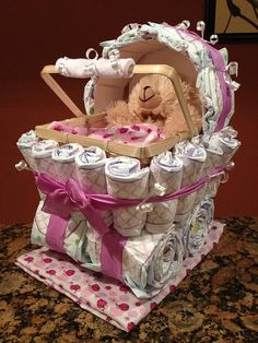 Diaper Carriage  Custom Made Baby Shower Gift by JocelynsCreations