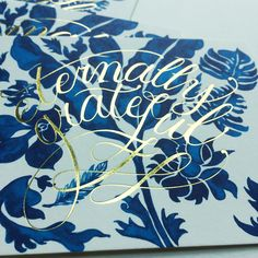"Blue Botanica ""Thank You"" flatnotes... #gold #stamping #brush #lettering"